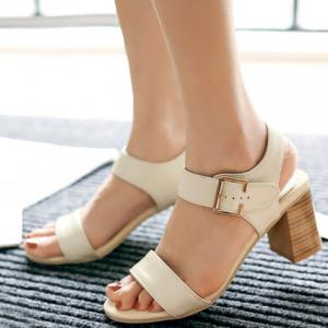 Trendy Chunky Heel and Solid Color Design Sandals For Women -