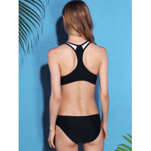 Active Style U Neck Hollow Out Racerback Bikini Set For Women - BLACK M