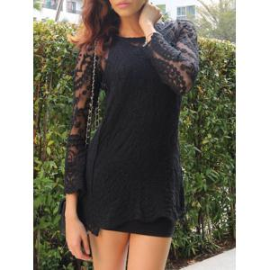 Lace Sheer Long Sleeve Short Dress - Black - One Size(fit Size Xs To M)