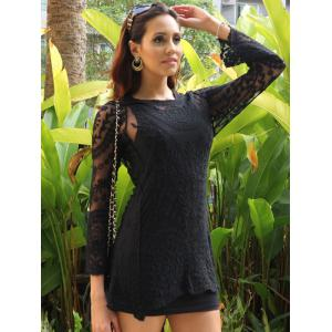 Lace Sheer Long Sleeve Short Dress - BLACK ONE SIZE(FIT SIZE XS TO M)
