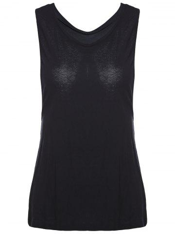 Store Chic V-Neck Cut Out Solid Color Women's Tank Top BLACK S