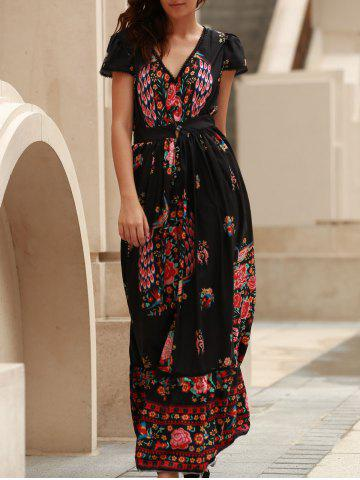 Trendy Short Sleeve Floral Boho Maxi Swing Dress BLACK S