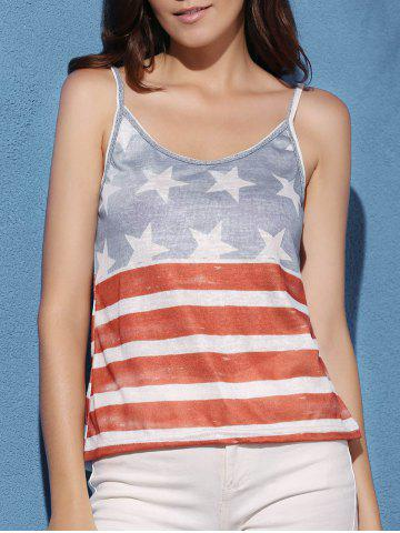 Latest American Flag Print Cami Tank Top COLORMIX S