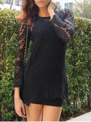 Cheap Lace Sheer Long Sleeve Short Dress BLACK ONE SIZE(FIT SIZE XS TO M)