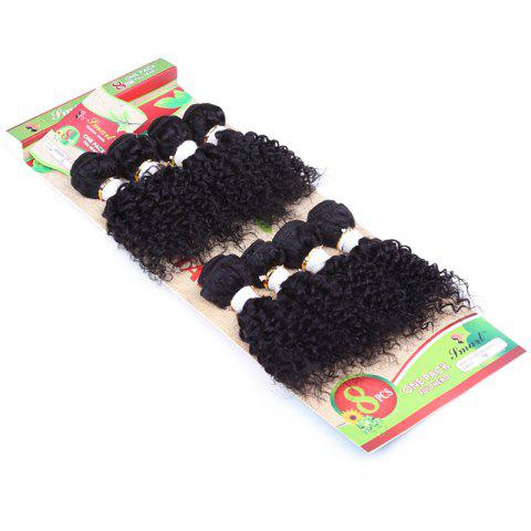 Outfit 8Pcs/Lot Fluffy Jerry Curly Vogue Black 90 Percent Human Hair Blended Synthetic Women's Hair Extension - BLACK  Mobile