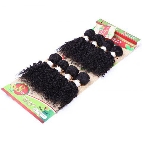 Shops 8Pcs/Lot Fluffy Jerry Curly Vogue Black 90 Percent Human Hair Blended Synthetic Women's Hair Extension