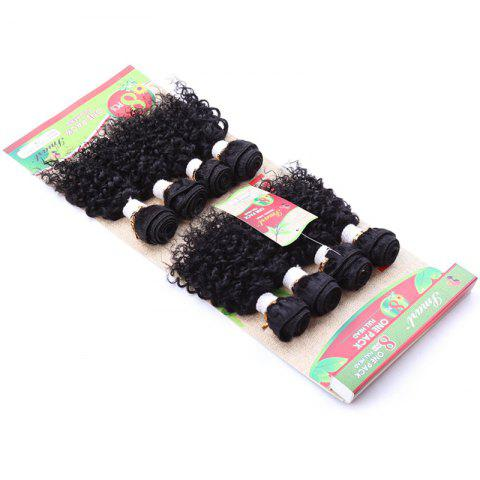 Online 8Pcs/Lot Fluffy Jerry Curly Vogue Black 90 Percent Human Hair Blended Synthetic Women's Hair Extension - BLACK  Mobile