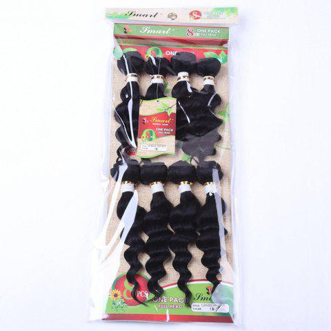 Outfit 8Pcs/Lot Stylish Black 90 Percent Human Hair Blended Synthetic Fluffy Wave Women's Hair Extension - BLACK  Mobile