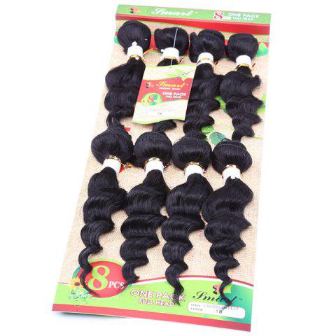 Online 8Pcs/Lot Stylish Black 90 Percent Human Hair Blended Synthetic Fluffy Wave Women's Hair Extension - BLACK  Mobile