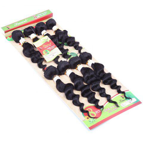 Store 8Pcs/Lot Stylish Black 90 Percent Human Hair Blended Synthetic Fluffy Wave Women's Hair Extension - BLACK  Mobile