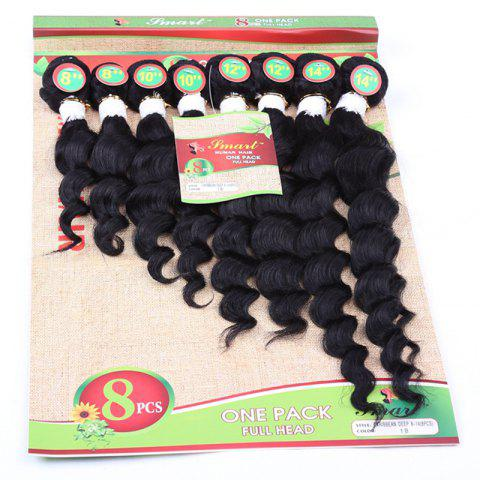 Online 8Pcs/Lot Fashion 90 Percent Human Hair Black 8-14 Inch Hair Extension For Women BLACK