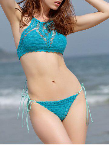 Outfits Women's Alluring Crochet Hollow Out High Neck Bikini