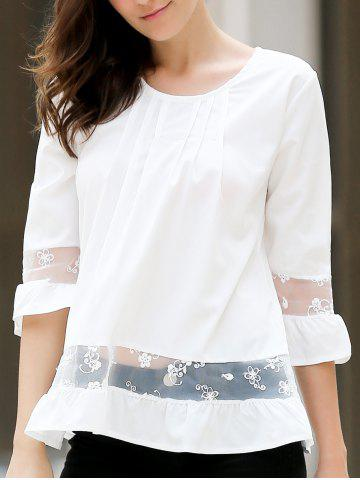 Fancy Chic Round Collar 3/4 Sleeve Lace Spliced Solid Color Women's Blouse