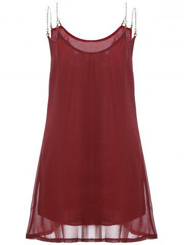 Shop Leisure Style Chain Strappy Sleeveless Loose Chiffon Dress For Women