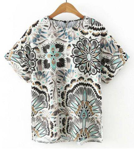 Outfit Trendy Round Neck Short Sleeve Floral Print Chiffon T-Shirt For Women