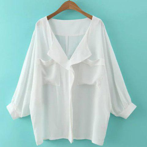 Buy Batwing Sleeve Front Pockets Blouse
