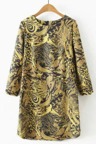 Online Vintage Round Neck 3/4 Sleeve Dragon Print Dress For Women