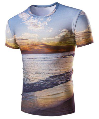 Hot Hot Sale Round Neck 3D Sunset Coast Print Short Sleeves T-Shirt For Men