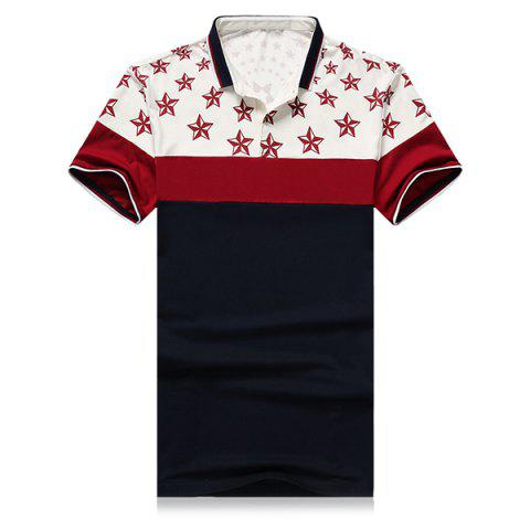 Outfits 3D Stars Printed Splicing Design Turn-Down Collar Short Sleeve Polo T-Shirt For Men