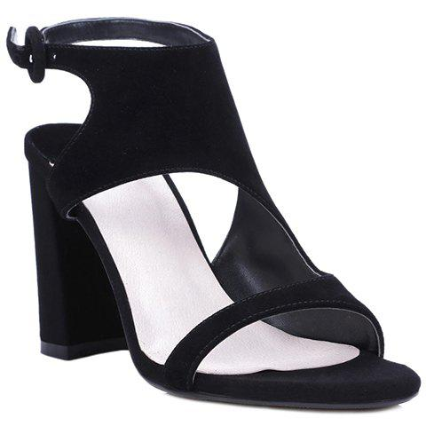Affordable Elegant Black Color and Chunky Heel Design Sandals For Women