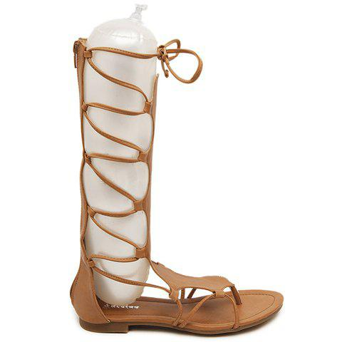 Store Flip Flop Design Gladiator Sandals That Lace Up Calf - 37 BROWN Mobile
