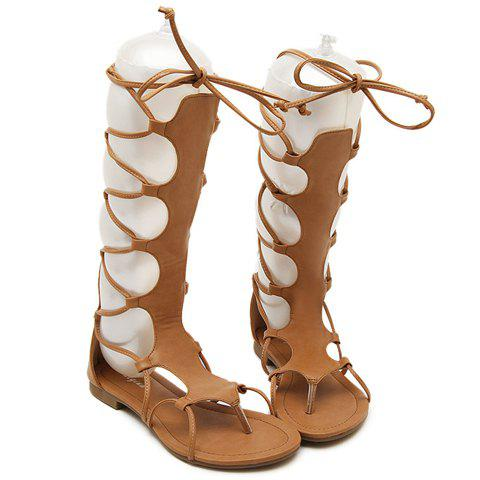 New Flip Flop Design Gladiator Sandals That Lace Up Calf - 37 BROWN Mobile