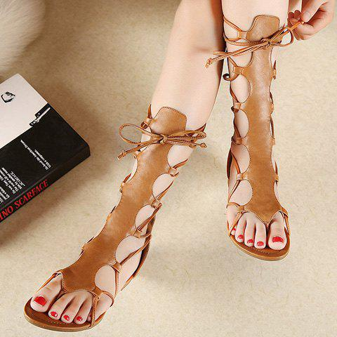 Cheap Flip Flop Design Gladiator Sandals That Lace Up Calf - 37 BROWN Mobile