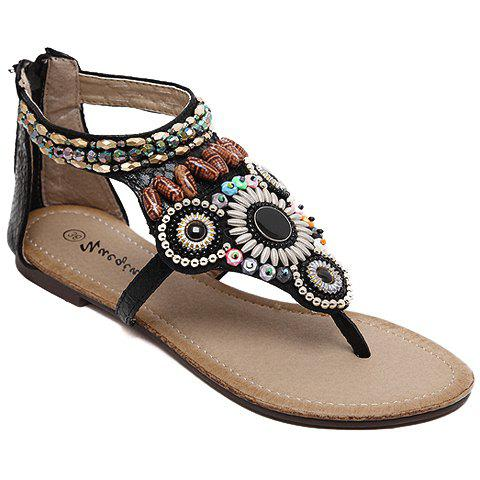 New Ethnic Style Beading and Zipper Design Sandals For Women