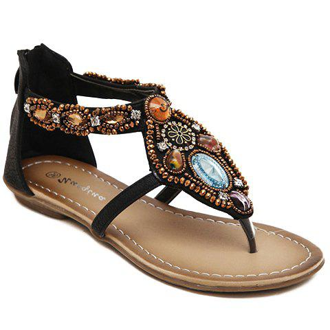 Unique Casual Beading and Flip Flop Design Sandals For Women