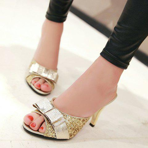 Store Stylish Bow and Sequined Cloth Design Slippers For Women - 38 GOLDEN Mobile