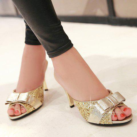 Shops Stylish Bow and Sequined Cloth Design Slippers For Women - 38 GOLDEN Mobile