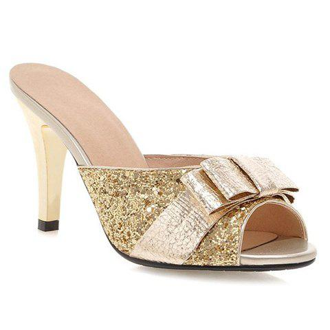 Shops Stylish Bow and Sequined Cloth Design Slippers For Women GOLDEN 39