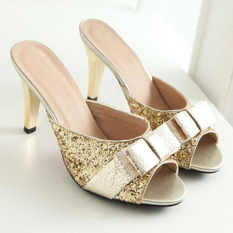 Latest Stylish Bow and Sequined Cloth Design Slippers For Women - 39 GOLDEN Mobile