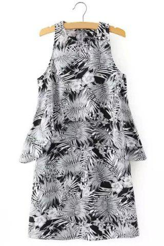 Chic Chic Round Neck Sleeveless Printed A-Line Dress For Women