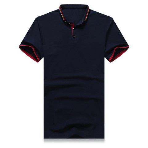 Hot Striped and Star Embroidered Turn-Down Collar Short Sleeve Polo T-Shirt For Men
