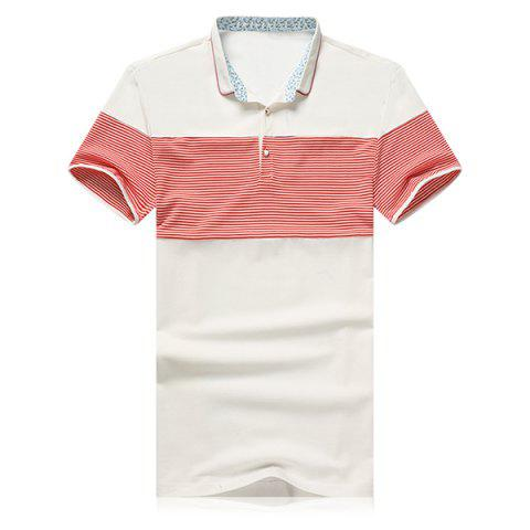 New Striped Splicing Design Turn-Down Collar Short Sleeve Polo T-Shirt For Men