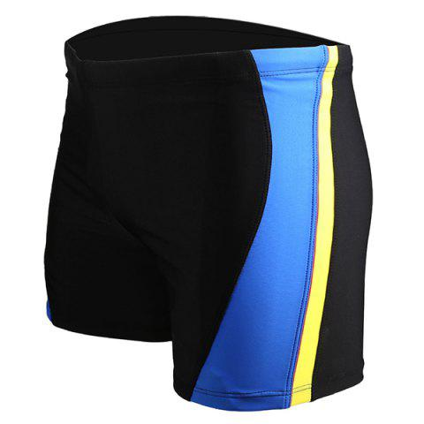 Buy Men's Color Block Elastic Waist Swimming Trunks