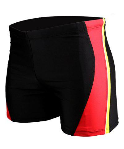 Discount Men's Color Block Elastic Waist Swimming Trunks