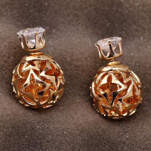 Cheap Pair of Stylish Double-End Faux Zircon Flowers Hollow Out Stud Earrings For Women
