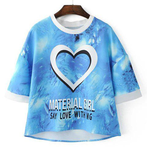 Online Causal Jewel Neck 1/2 Sleeve Print T-Shirt  For Women
