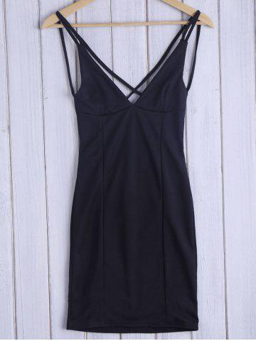 Fashion Low Cut Open Back Slip Dress - M BLACK Mobile