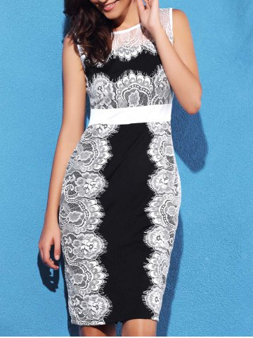 Lace Panel Scalloped Sheath Dress - WHITE/BLACK S
