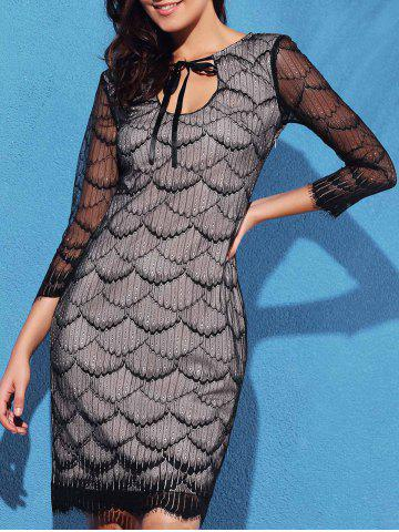 Discount Graceful Fish Scale Hollow Out 3/4 Sleeve Dress For Women