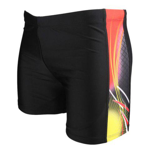 Cheap Color Block Plaid Elastic Waist Swimming Trunks For Men