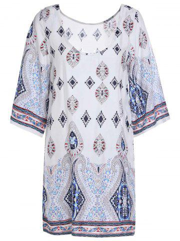 Outfit Printed Chiffon Backless Casual Shift Dress - M COLORMIX Mobile