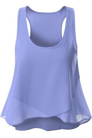 Solid Color Overlaped Chiffon Tank Top