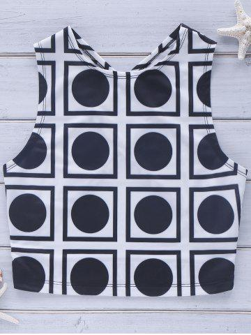 Fancy Cross Back Geo Crop Top WHITE AND BLACK M