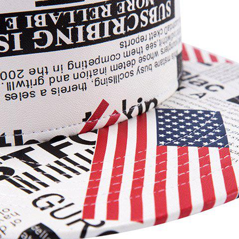 Discount Stylish American Flag and Newspaper Pattern PU Baseball Cap For Men - WHITE  Mobile