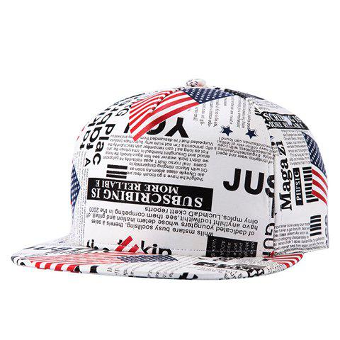 Trendy Stylish American Flag and Newspaper Pattern PU Baseball Cap For Men - WHITE  Mobile
