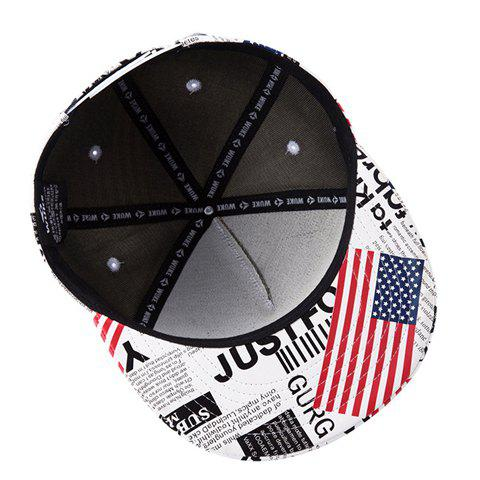 Chic Stylish American Flag and Newspaper Pattern PU Baseball Cap For Men - WHITE  Mobile